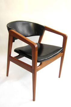 Anonymous; Mahogany and Leather Armchair, 1950s.