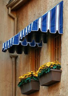 blue striped awnings