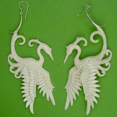 Carved bone Phoenix earrings