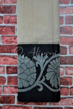 Light Biege Plain Tissue Handloom Saree with Black/Silver Kuppadam Floral Border - Aliveni  - 1
