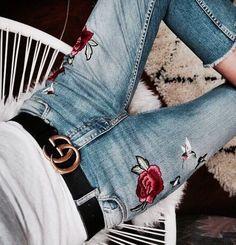 floral denim + gucci belt