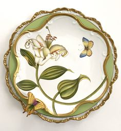 Although we are currently no longer taking orders, here is a beautifully hand painted porcelain place setting to brighten your day! Painted Plates, Hand Painted, Painted Porcelain, Flora Danica, Bone China Dinnerware, Blue And White China, Pottery Plates, China Painting, Botanical Illustration