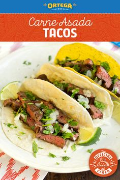 This classic Carne Asada Taco recipe is the ideal dinner centerpiece for your Cinco de Mayo celebration. They are just as easy to make as they are delicious. All they take are 4 simple steps:  1) Rub your favorite cut of steak with Ortega Taco Seasoning. 2) Grill steak to your preferred doneness and then slice into strips. 3) Layer into Ortega Yellow Corn Taco Shells or Flour Tortillas. 4) Top with diced raw white onion, cilantro, and a squeeze of lime!