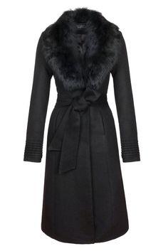 SENTALER Luxury Outerwear Long Coat with Fur Collar