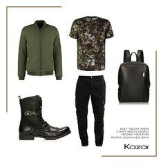 Tej jesieni postaw na męski styl militarny wzbogacony sportowymi dodatkami. Do czarnych hiker boots dobierz spodnie w typie bojówki i najmodniejszą w tym sezonie kurtkę bomber. Całość dopełni koszulka w w wojskowym trendzie i hit sezonu jesień/zima 2016/2017 - skórzany plecak. Jak Wam się podoba?  Czarny plecak skórzany - http://bit.ly/2eeN2L8 Czarne trzewiki męskie VALERIO - http://bit.ly/2e9KU94