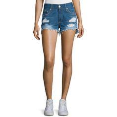 rag & bone/JEAN Distressed Cut-Off Denim Shorts (305 BGN) ❤ liked on Polyvore featuring shorts, freeport, cut off shorts, slim fit shorts, cut-off shorts, distressed shorts and cotton shorts
