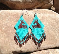 Fawn Beaded Earrings with Fringe by DoubleACreations on Etsy