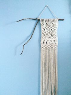 Handmade macrame wall-hanging. Made to order. Beautiful for any space, big or small. Available settings include rustic tree limb or wooden dowel. Made