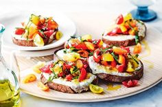 Serve these bright tomato bruschetta as an easy starter for two.