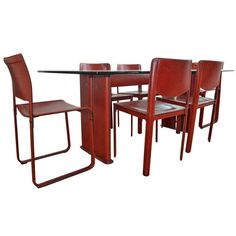 Tito Agnoli for Matteo Grassi Leather Dining Table & Six Chairs