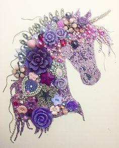 Unicorn button art / mixed media art £65.00 + extra for framing