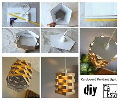 DIY Cardboard Pendant Lighting diy craft crafts easy crafts craft idea diy ideas home diy easy diy home crafts diy craft diy decorations craft decor Upcycled Crafts, Diy Home Crafts, Easy Diy Crafts, Craft Stick Crafts, Garden Crafts, Diy Cardboard Furniture, Cardboard Box Crafts, Diy Karton, Creative Lamps