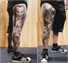 This tattoo clearly expresses the love towards Batman and it is a lifelong love, wherein the tattoo and its design prevail on the body of a fan for a long time. Here are 35 Batman tattoo designs for both men and women. Dope Tattoos, Cool Tattoos For Guys, Leg Tattoos, Body Art Tattoos, Harley Tattoos, Tatoos, Leg Sleeve Tattoo, Tattoo Sleeve Designs, Tattoo Designs For Women