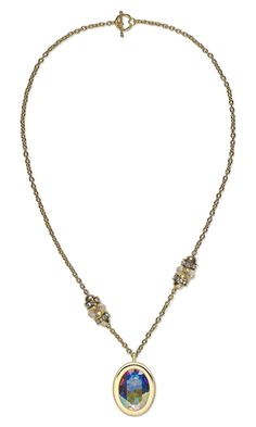 """Single-Strand Necklace with Swarovski Crystal Embellishment and Gold-Plated """"Pewter"""" Pendant and Dione™ Large-Hole Beads"""
