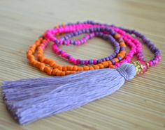 Hot pink tassel necklace Long tassel necklace Beaded necklace with tassel Seed bead necklace Boho jewelry Hippie necklace Tribal necklace
