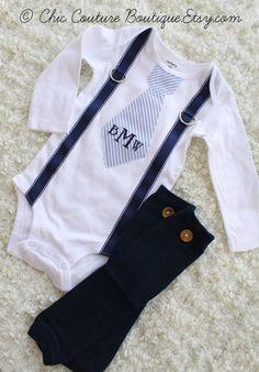 Baby Boy Striped Seersucker Personalized Tie and Suspender Bodysuit & Leg Warmers SET. Easter Spring Birthday Outfit Tan Beige Navy Indigo