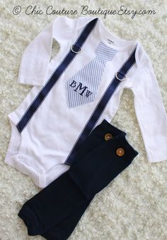 Baby Boy Striped Seersucker Personalized Tie and Suspender Bodysuit & Leg Warmers SET. Easter Spring Birthday Outfit Tan Beige Navy Indigo