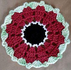 #318 Red Anemone Dishcloth ~ free pattern