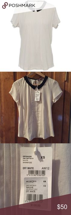 """Comptoir Des Cotonniers SILK Blend Top XS NWT High-end Luxury brand sold at individual stores around the world as well as luxury retailers such as Bloomingdales // New With Tags // Peter Pan collar // Silk and Cotton blend // Size:XS // Bust:16"""" Length:23"""" // retailed at $135 as seen // 15% off on bundles. I ship same-day from pet/smoke-free home. Buy with confidence. I am a top seller with close to 400 5-star ratings and A LOT of love notes. Check them out. 😊😎 Comptoir Des Cotonniers Tops…"""
