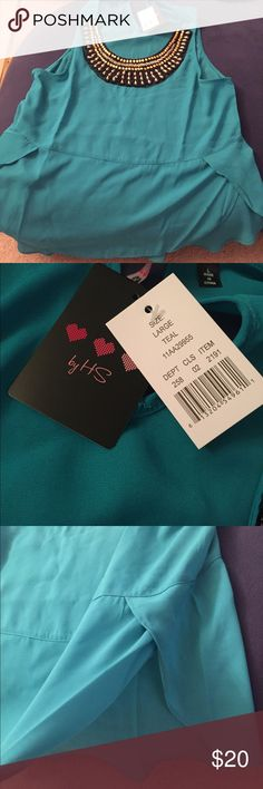 Teal Sleeveless Dress Blouse Needs a tank top underneath in most cases. Smoke- and pet-free as always. HS Tops Blouses