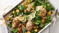 Sheet-Pan Lemon Chicken and Potatoes -- Get a deliciously fresh, Greek-inspired chicken-and-veg dinner on the table in less than an hour with six simple ingredients and one sheet pan. Slow Cooker, Quinoa, Super Rapido, Lemon Chicken, Greek Chicken, Chicken Orzo, Oven Chicken, Pepper Chicken, Chicken Feed