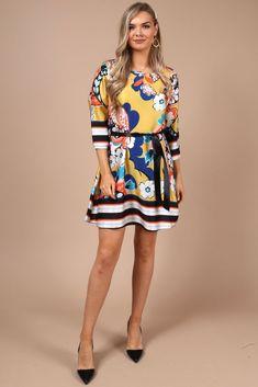 28fa9561afd2 Lia Yellow Floral Tunic Dress. Virgo Boutique Fashion