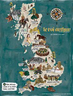 La Grande-Bretagne du Roi Arthur : carte interactive - Mode Tutorial and Ideas Map Of Britain, Visit Britain, Great Britain, King Arthur Legend, Legend Of King, King Arthur History, Snowdonia, Rei Arthur, England And Scotland