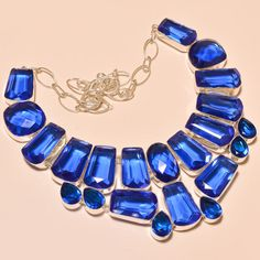 SPARKLING FACETED TANZANITE QUARTZ VERY LOVELY .925 SILVER NECKLACE #Handmade #Choker