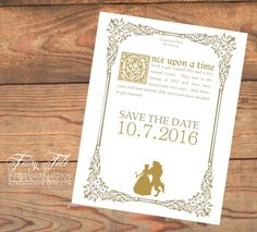 Fairy Tale Wedding Collection - Beauty and the Beast Elegant Storybook Save the Date Postcard by KLMcreative on Etsy https://www.etsy.com/listing/245165891/fairy-tale-wedding-collection-beauty-and