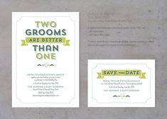 Two grooms are better than one Gay wedding invitation by AdamNSteveGetMarried