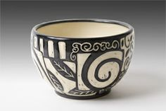 Interesting patterns created on a black and white bowl - derivative of Native American pottery