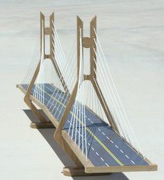 The Cable-Stayed Suspension Bridge Elementary Science Fair Projects, Science Projects, Bridges Architecture, Bridge Model, Balsa Wood Models, Civil Engineering Design, Diy Crib, Construction Tools, Bridge Design