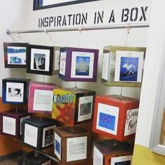 "What a great way to display a variety of students work that is an interactive di. What a great way to display a variety of students work that is an interactive display . by Squarehead Teachers: ""inspiration in a box"" class project display Classroom Organisation, Classroom Design, School Classroom, Art School, School Stuff, Social Studies Classroom, School Displays, Classroom Displays, Hallway Displays"