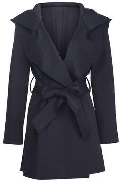 Slim Hooded Black Trench Coat #Romwe