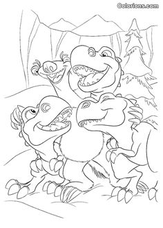 Little dinosaurs from Ice age coloring pages for kids, printable ...