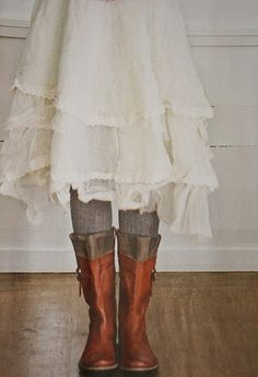 LOVE the skirt and the boots with tights