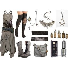 At the End of all Things by maggiehemlock on Polyvore featuring ANM, Dr. Martens, Frye, The Wildness Jewellery, Tissu Tiré, Laura Mercier, Urban Decay and Uttermost