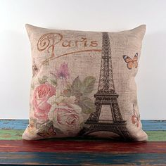 Retro Shabby Chic Pink Roses Paris Eiffel Tower Linen Pillow Case Cushion Cover