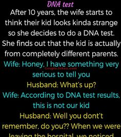 A Woman decided to do DNA test of her Son Husband Jokes, Wife Jokes, Husband Wife, Clean Funny Jokes, Funny Test, Hilarious, Kitchen Jokes, Christian Skits, Wife Story