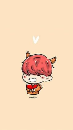 Chibi V - Fanart Kim Taehyung Bts E Got7, Jimin Jungkook, Bts Taehyung, Bts Bangtan Boy, Bts Chibi, Namjin, Wallpapers Kawaii, Desu Desu, Chibi Wallpaper