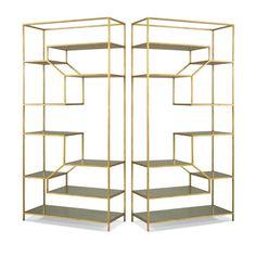 Etagere Pair Antique Gold Eglomaise Glass Precedent Furniture