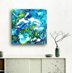 """Submerged worlds"" - abstract organic acrylic on canvas ready to hang CRISTINA DALLA VALENTINA ART - blog"