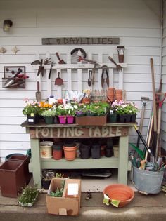 """""""My potting table"""", I wish. This is so cute."""