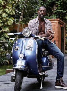 Idris Elba on a Vespa Idris Elba, Gorgeous Black Men, Handsome Black Men, Beautiful Men, Black Man, Poses, Lambretta, Essence Magazine, Actrices Hollywood