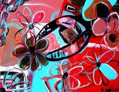 Flower Bomb Colorful abstract Original by ArtsyAutumnsArtShop