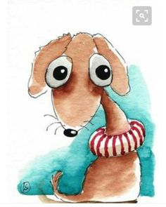"""""""Going swimming"""" ACEO x Original Watercolor Painting by 'stressiecat' on Etsy ♥≻⊰❤⊱≺♥ Watercolor Animals, Watercolor Cards, Watercolor Print, Watercolor Illustration, Watercolor Paintings, Happy Paintings, Animal Paintings, Cartoon Drawings, Cute Drawings"""