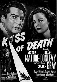 'Kiss of Death' is a 1947 film noir movie directed by Henry Hathaway and written by Ben Hecht and Charles Lederer from a story by Eleazar Lipsky. The story revolves around the film's protagonist, a former robber, and the antagonist, the ruthless, violent Tommy Udo (played by Richard Widmark ). The movie also starred Brian Donlevy and introduced Coleen Gray in her first billed role. Richard Widmark won an Academy Award for best supporting actor.