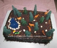 Homemade Deer Hunting Cake: I was inspired to make this Homemade Deer Hunting Cake for my husband since he is a big hunter. I started off by making two cakes each in 13x9 inch pans.