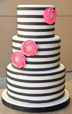 Black and White Fondant Stripe Wedding Cake with Rosette Flowers by Beverly's Bakery www.beverlysbakery.com/