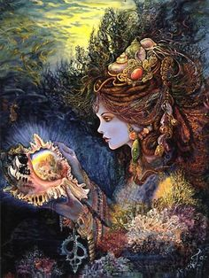 Admiring earth's treasures (artist: Josephine Wall)
